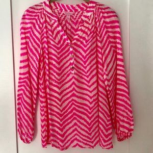 Lilly Pulitzer Elsa Silk Top Tropical Pink